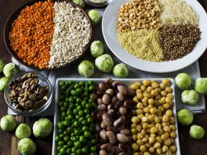 Große Auswahl an veganen Proteinquellen